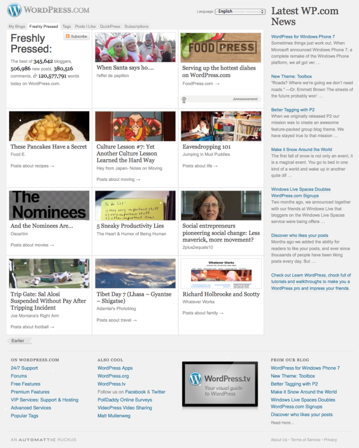 Wordpress.com Front Page